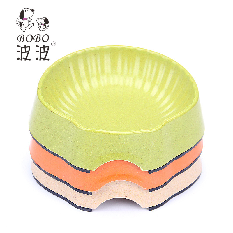 2015 New Pet Cat Small Dog Feeder Bamboo Fiber Scallop Solid Bowls Products For Dogs Mascotas Comedero Perro Free Shipping(China (Mainland))