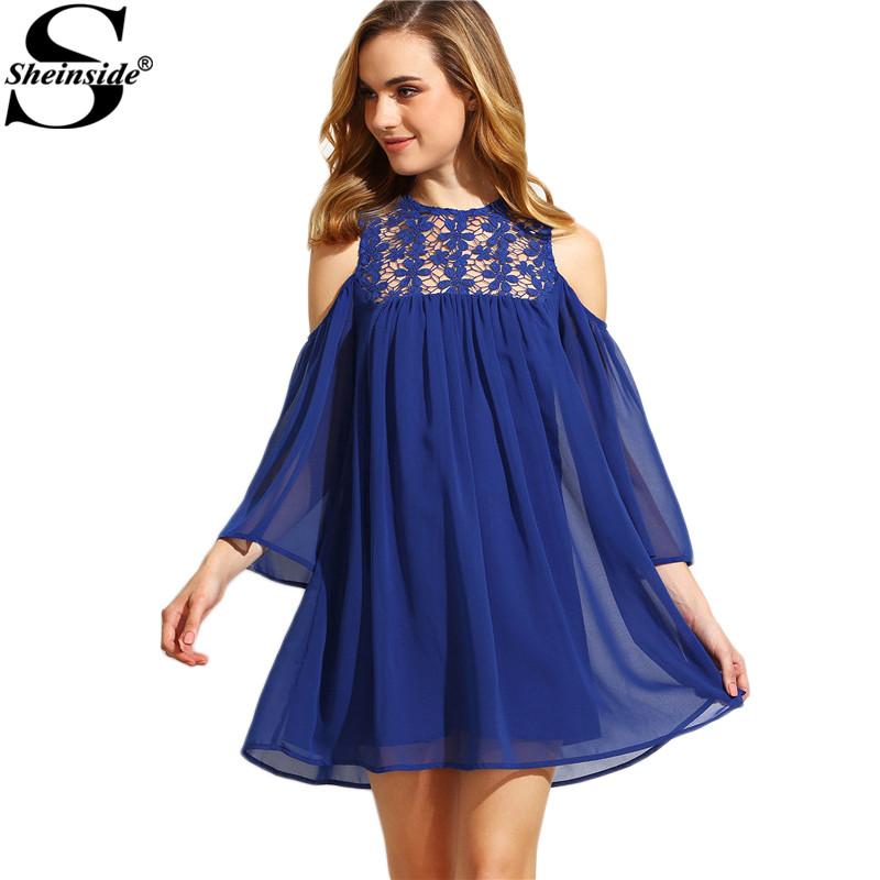 Sheinside Royal Blue Cold Shoulder Crochet Chiffon Shift Dresses Women Summer Shift Round Neck 3/4 Sleeve Mini Dress(China (Mainland))