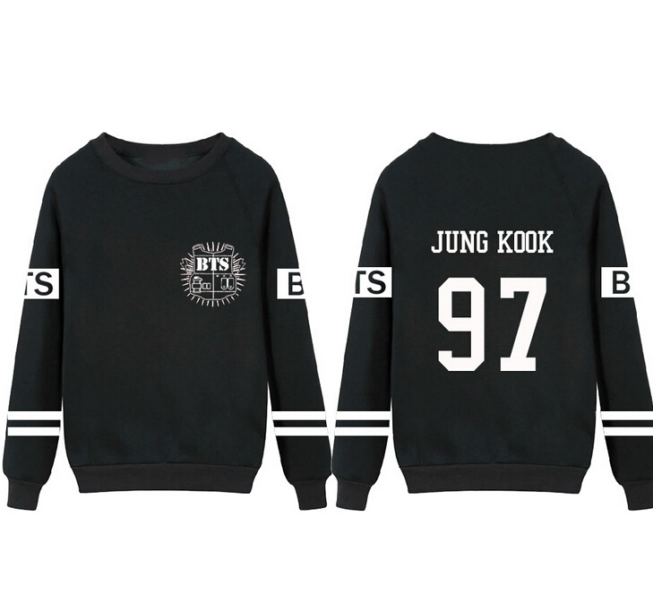 BTS Bangtan Boys Hoodie Kpop 2016 New Collective Black Thin Long Sleeve K-pop BTS Women Men Sweatshirts Outerwears Plus Size 3XL