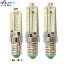 Buy 5w 9w 12w led lamp e14 base led light smd2835 38pcs leds smd3014 104pcs leds ac 110v 220v 240v corn bulb warm cold white light for $1.69 in AliExpress store