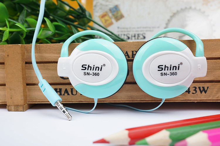 3.5mm Stereo Shini360 Earphone Ear Hook For Iphone Telephone Headset  Samsung Xiaomi Headphone Factory Price Wholesale