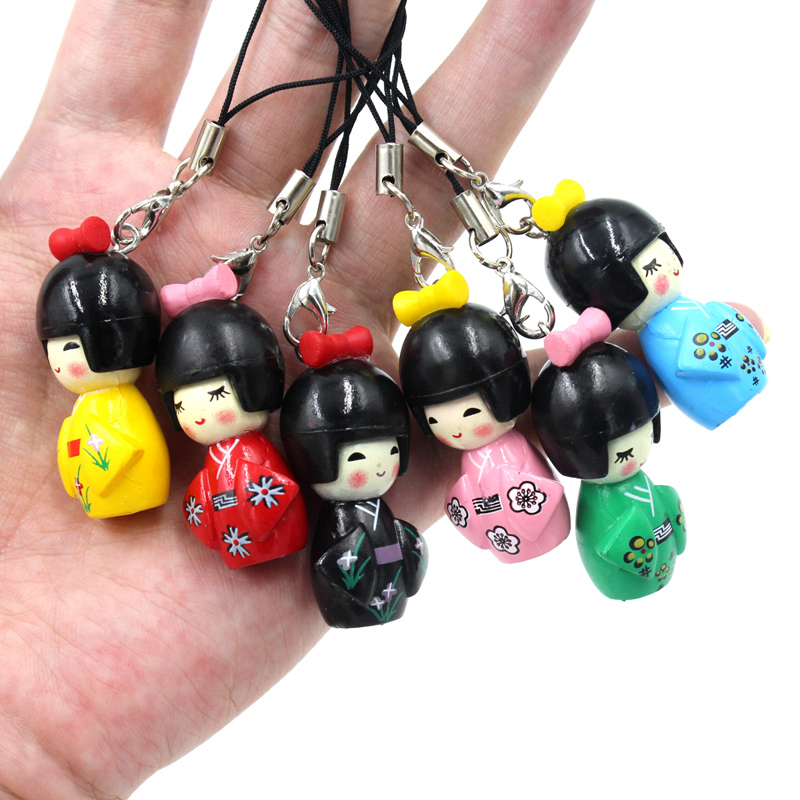 10pcs/Lot Japan Lucky Kimono Girl Mobile Phone Straps Charm Dolls Gifts(China (Mainland))