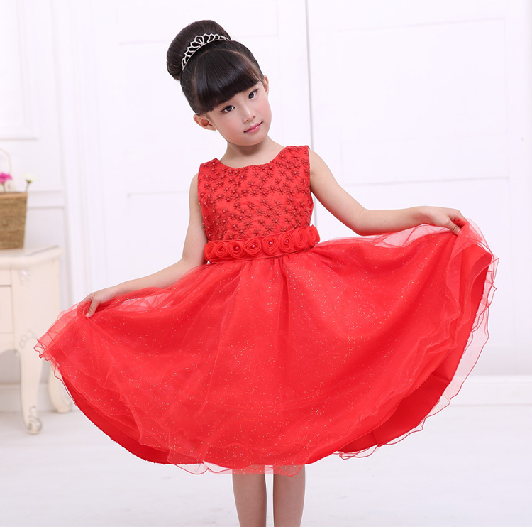 High quality customized pricess birthday fluffy fairy soft cute hand made flower dresses for wedding baby girl party dress(China (Mainland))