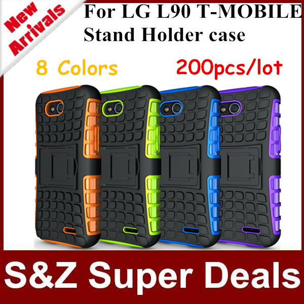 200pcs Best Service Rugged 2 in 1 TPU&PC Stand Holder Robot Combo Cell Phones case Cover for LG L90(China (Mainland))