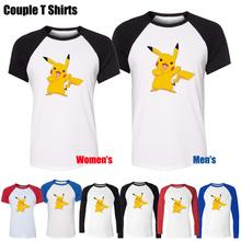 Cute Funny Cartoon Pikachu Pokemon Happy Grin Design Printed T-Shirt Women's Girl's Tee Tops Red or Black Sleeve