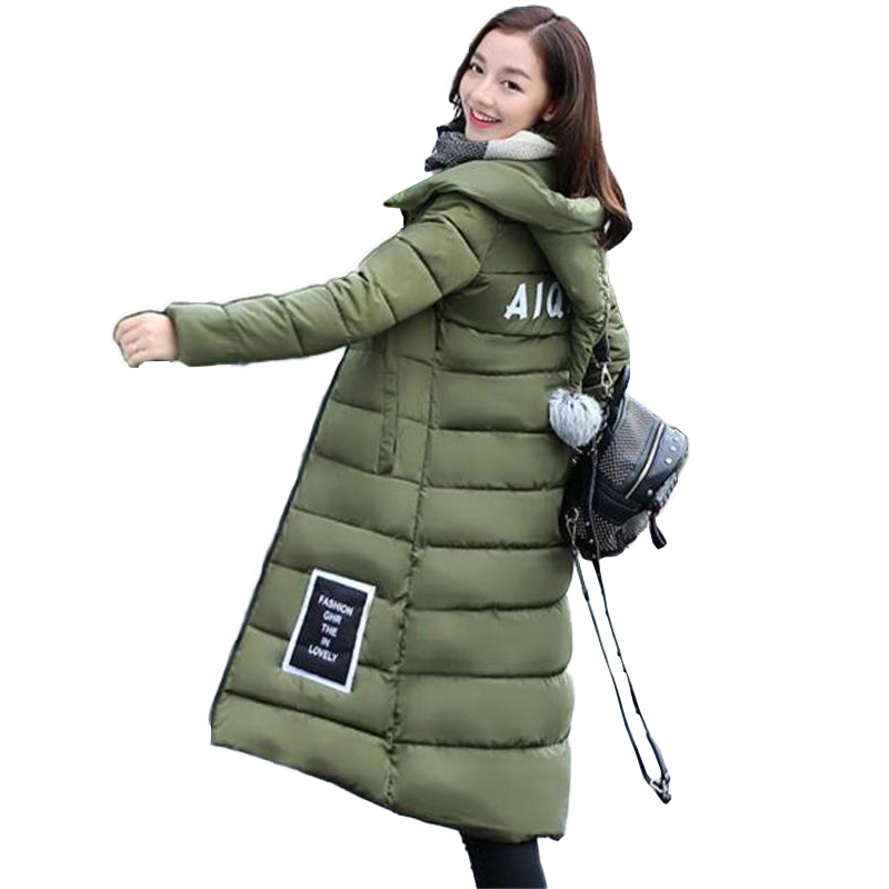 2016 Women's winter jacket women coat thick parka women's fashion cotton jacket coat army green jacket and long(China (Mainland))