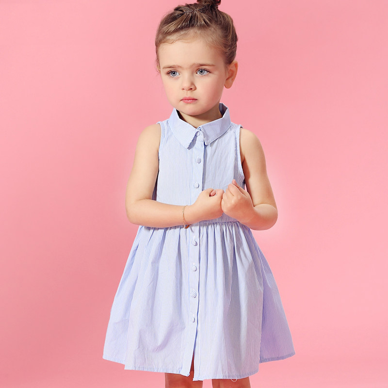2016 Baby Girl Summer Princess Sofia Denim Dresses July 4th Style Frock Design Clothes age 2 3 4 5 6 7 8 T Year  -  Shally's Shop store