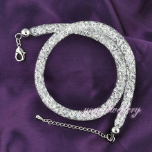 Fashion Jewelry Stardust Element crystal Necklace 2 layers Bracelet 18k white gold mesh GP N247