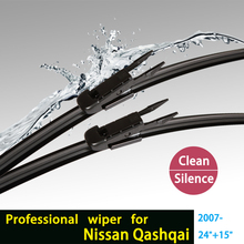 "car windshield wiper blade for Qashqai, soft rubber 24""+15"", natural rubber Bracketless, car accessories, windscreen,2 pcs/pair(China (Mainland))"