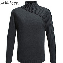 Fashion Winter Man Knitting Sweaters and Pullover Famous Brand Black Turtleneck Button Men Casual Sweaters Chandail Homme(China (Mainland))