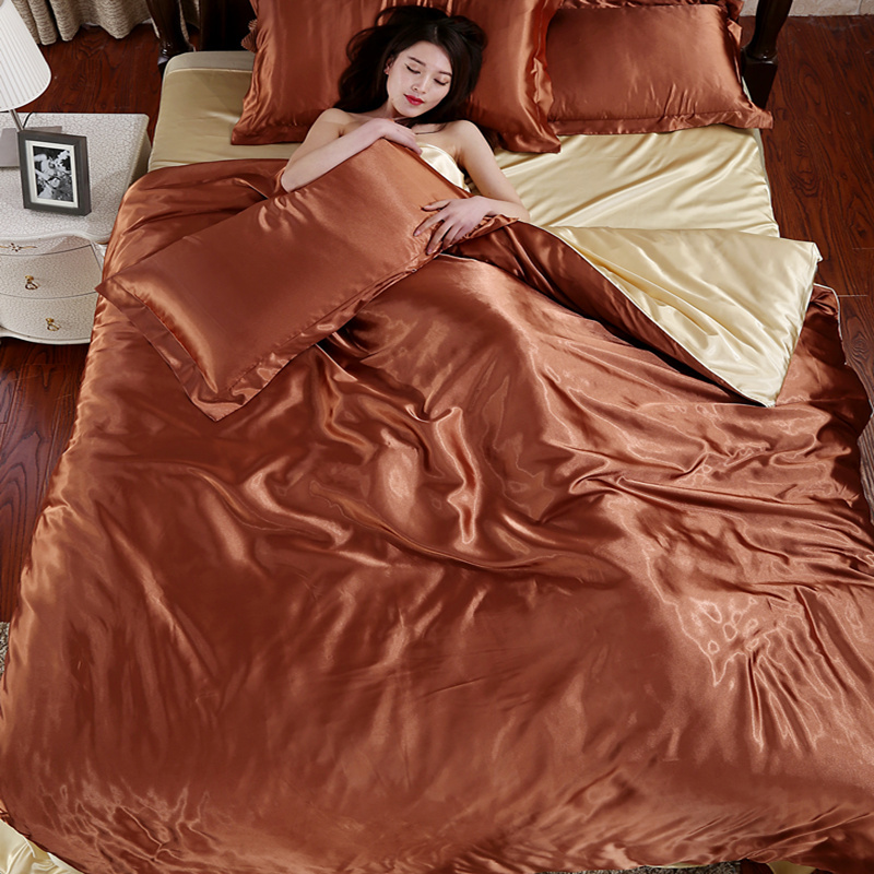 Hot Silk Satin Bed Linen Solid Satin Quilt cover set Duvet cover set King Size Bed sheet 4pcs of Bedding Sets Coffee & Beige(China (Mainland))