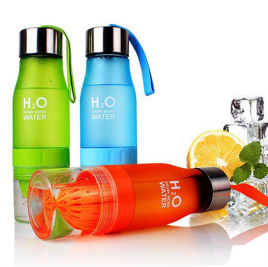 my bottle 650ml H20 water bottle Lemon fruit infuser infusion plastic drinking H2O bottle to water sport color gift box packing(China (Mainland))