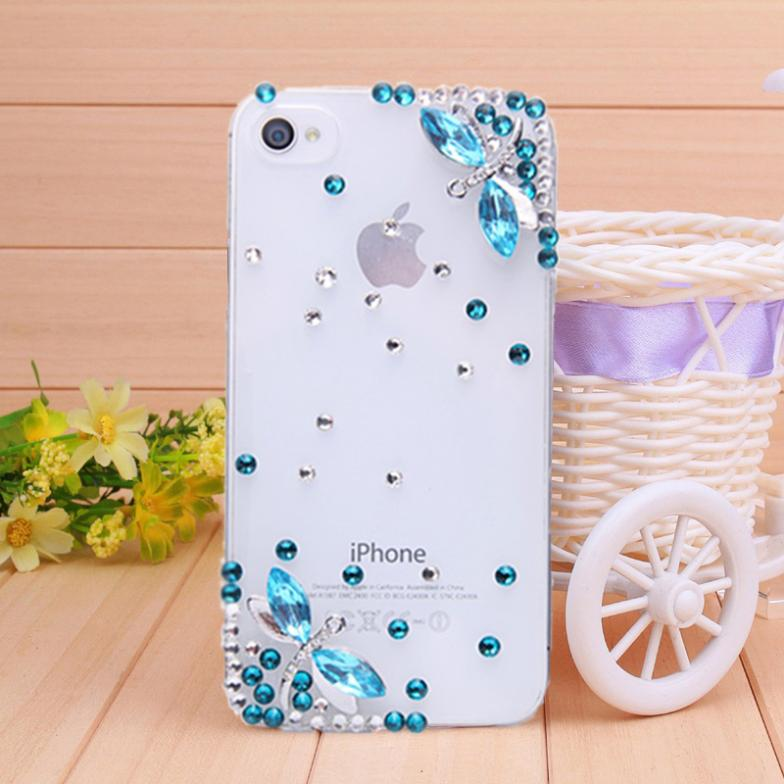 Rhinestone Case for iPhone 4 4s iPhone 5s 5 back Case diamond two Dragonfly phone bag Mobile Border Protection free shipping(China (Mainland))