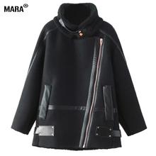 2016 New Arrival Women Winter Jacket Fashion Faux Sheepskin Shearling Coat Ladies Thick Lamb Fur Collar Fleece Suede Zipper Coat(China (Mainland))