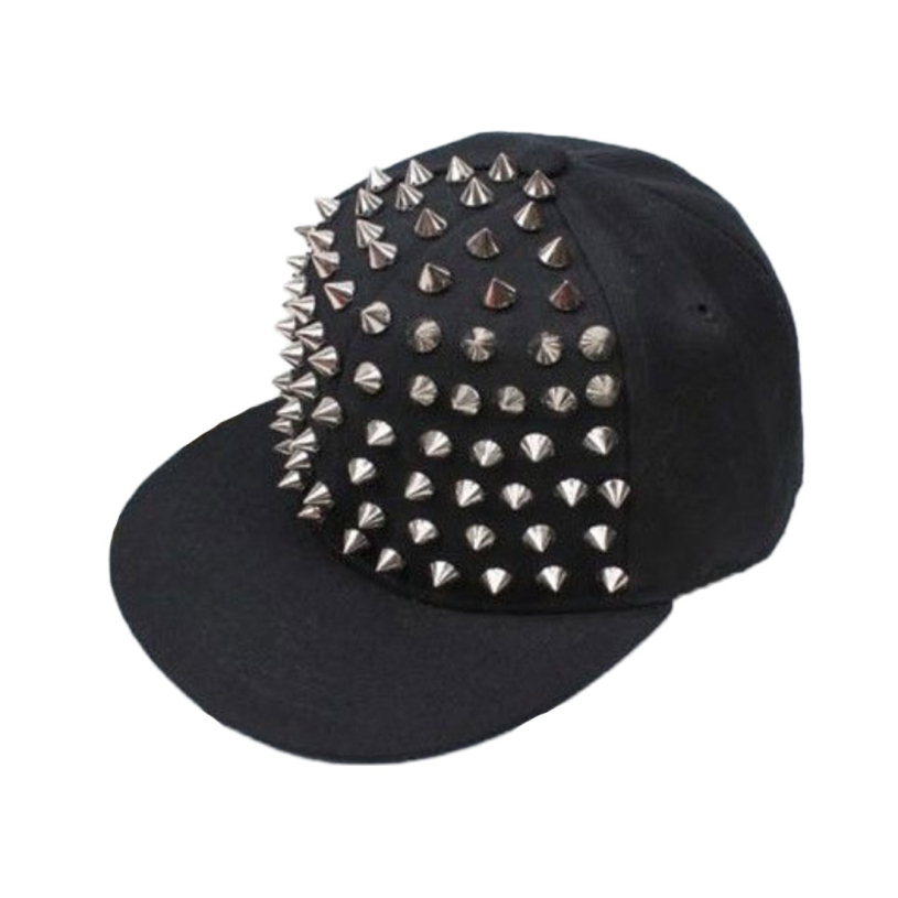 Brand new 2015 Unisex Punk Hedgehog Rock Hip Hop Silver Rivet Stud Spike Spiky Hat Baseball Cap for men women(China (Mainland))