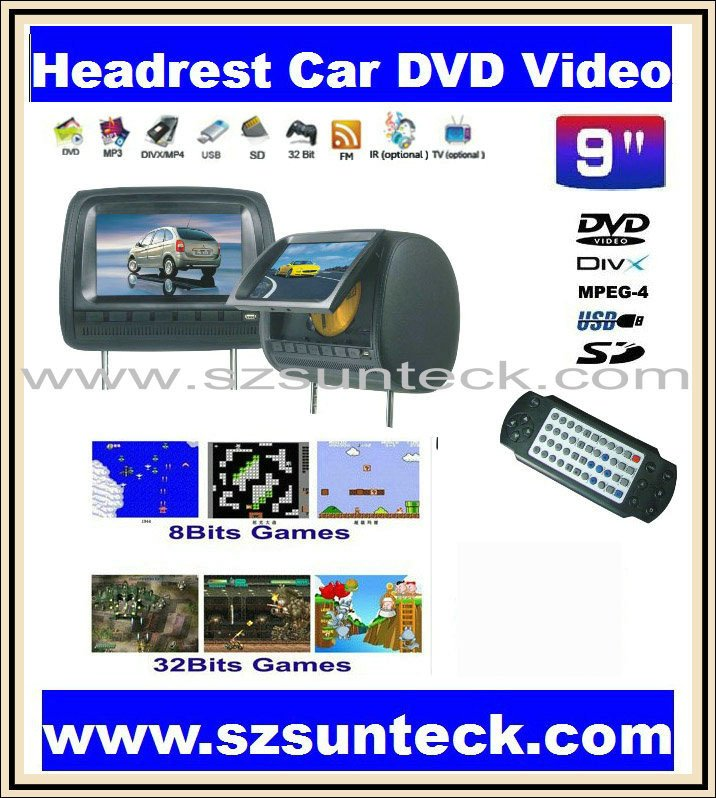 9 inch headrest car dvd player with 32bit game+MPEG4+USB+SD+FM(China (Mainland))