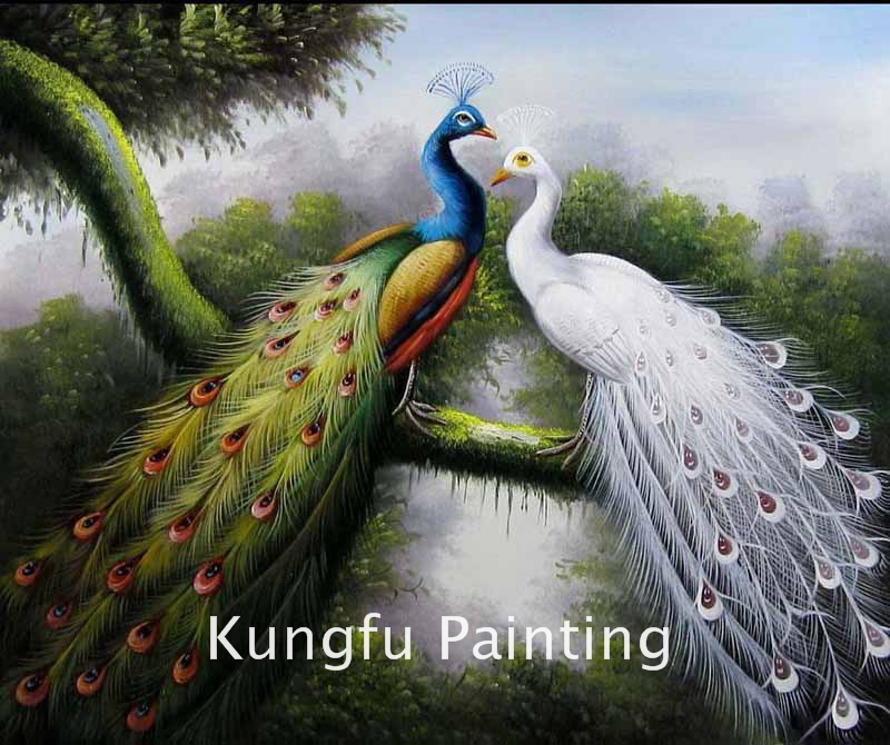 Ani437 100 handmade good quality canvas beautiful peacock oil painting for sale wall art Home decor paintings for sale india