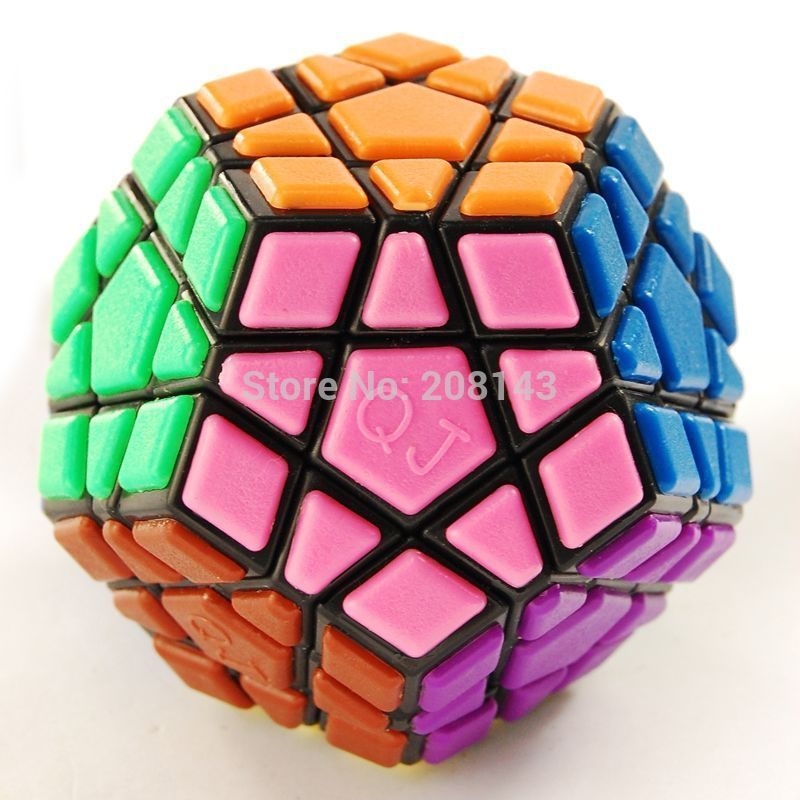 Free Shipping!! QJ Megaminx Tiled Puzzle Cube Black Speed Magic Cube Great Brain Teaser Toy for Your Children