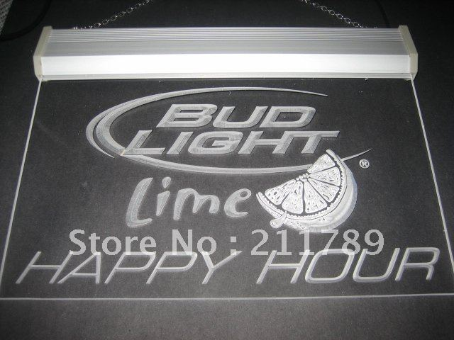 W0518 Bud Light Lime Happy Hour Bar Neon Light Sign