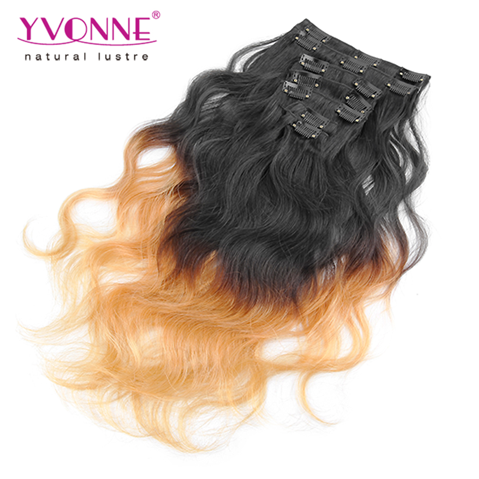 7Pcs/set Brazilian Hair Ombre Clip in Hair Extensions,T1B/30 Body Wave Human Hair Clip in Extensions,10-28 Inches In Stock(China (Mainland))