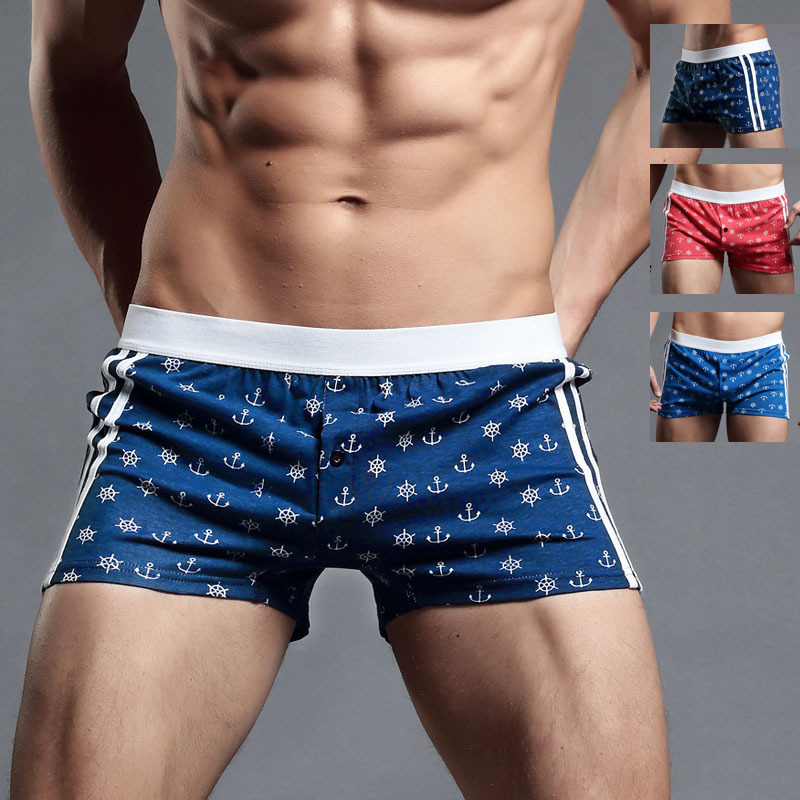 High Quality 100%Cotton Men's Underwear Navy Pattern Arrow Loose Home Shorts For Man Boxer Large Plus Size 2XL PJ1953(China (Mainland))