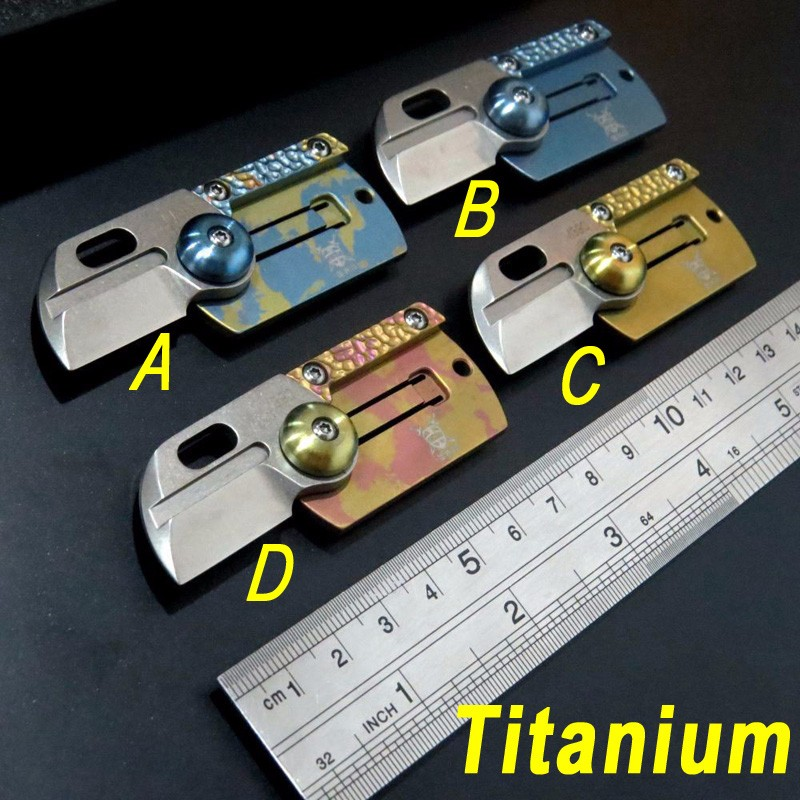 Buy MINI Folding Blade Coin key chain Titanium Knife M390 blade titanium handle outdoor tactical hunting Coin key chain EDC tool cheap