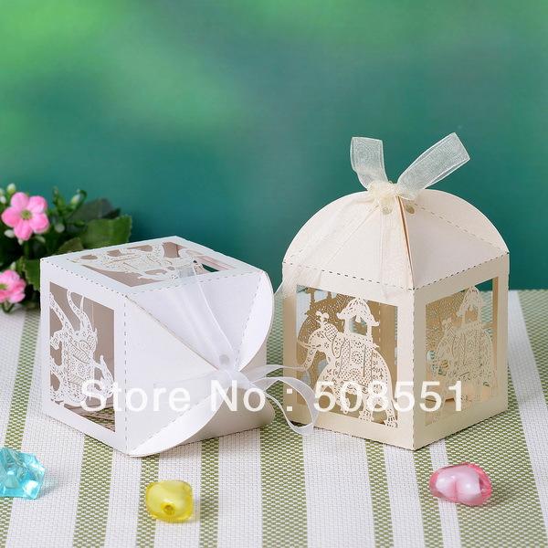 Cutout Elephant Candy Box Wedding Gift Candy Box Laser Cut Box 12pcs(China (Mainland))