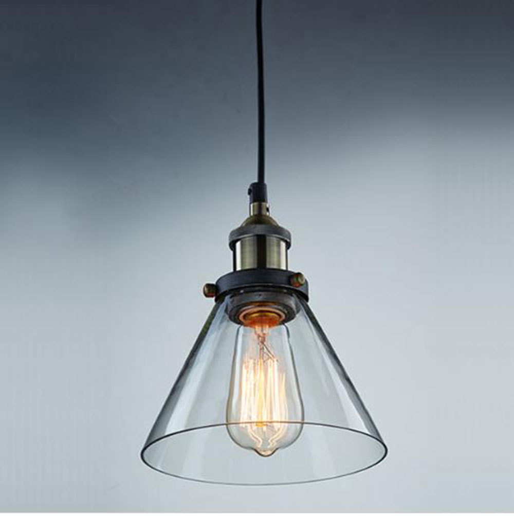 Buy modern industrial vintage clear glass taper shade pendant light kitchen - Industrial lighting fixtures for kitchen ...