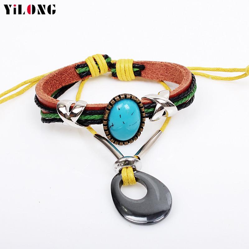 Fashion Luxury Large Imitation Turquoise Accessories Retro Genuine Leather Rope Bracelet\Bnagle\Pulseras\wristband For Women\men(China (Mainland))
