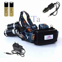 4000 Lumen 4-Mode XM-L T6+2R LED Headlamp Linternas Frontales Cabeza Headlight hoofdlamp + 2×18650 Battery 4000mAh & Car Charger