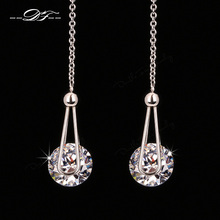 2 Carat AAA+CZ Diamond Drop/Dangle Line Earrings 18K Rose Gold/Silver Plated Fashion Cubic Zircon Jewelry For Women DFE684M(China (Mainland))