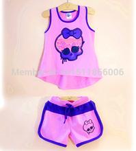 2015 Kids Monster High cloth set,Kids Casual t Shirt+Pant,Kids Summer Beach cloth sets(China (Mainland))