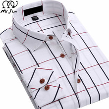 MR.JIM 2016 new men's cotton shirt plaid long Sleeve casual business breathable Comfortable Plus Size shirts-Free shipping