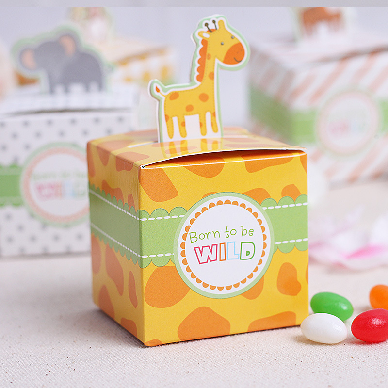 free shipping set of 100pcs DIY Animal Candy Boxes Mini Jungle Animal party Boxes Valentine Birthday Party Favor Boxes gift wrap(China (Mainland))