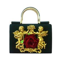 2017 Новый прибыл мода ткань женщины сумки Vintage 3D цветок сумка марка дизайн Ангел Милосердия сумки для леди bolsa feminina(China (Mainland))