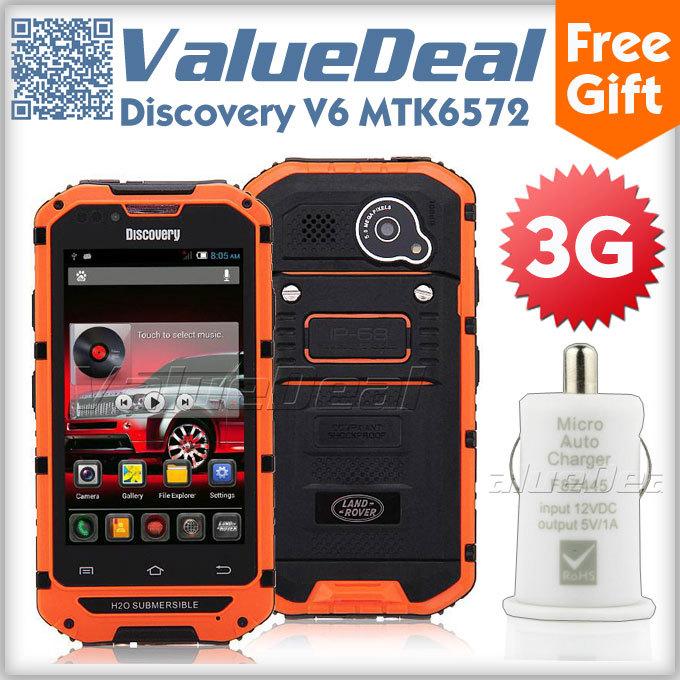 "Original Android Phone Discovery V6 MTK6572 Dual Core 4.0"" HD Screen 512MB RAM 4GB ROM IP68 Waterproof Shockproof 3G Smartphone(China (Mainland))"
