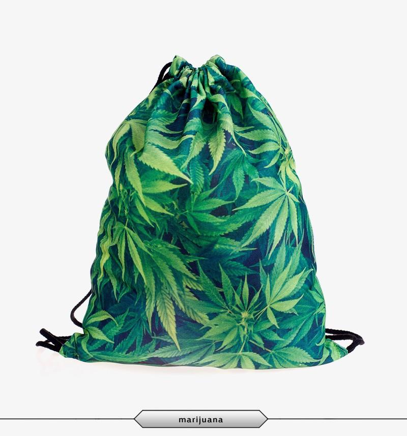 2015 New Fashion Escolar Backpack 3D Print Weed Softback Women Mochila Feminina Harajuku Drawstring Bag Unisex