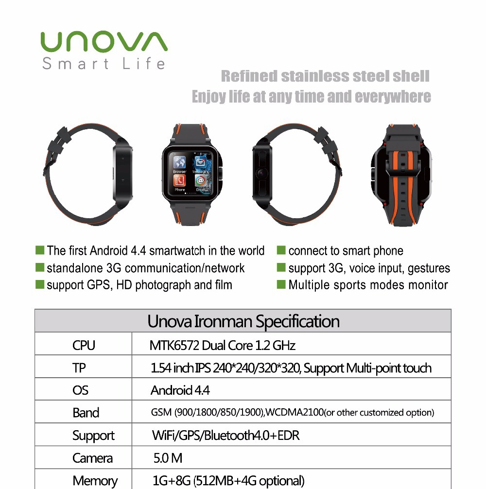 "UNOVA IRON MAN Android 4.4 Bluetooth GPS IP67 Waterproof WCDMA 3G WiFi Smartwatch Phone1.54"" MTK6572 Dual-Core 1GB/8GB Camera(China (Mainland))"