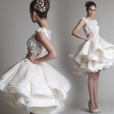 2015 new White Princess Bride perspective lace flowers beading backless wedding dress short models(China (Mainland))