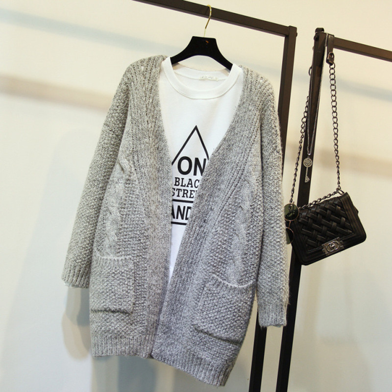 2015 New Women Long Cardigan Crochet Casual Oversized Sweaters Open Stitch Knitted Coat Thick Spring Autumn Cardigan Female(China (Mainland))