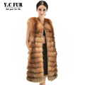 X Long Luxury Women Winter Waistcoat High Quality Natural Fox Fur Vests Warm Winter Fur Gilet