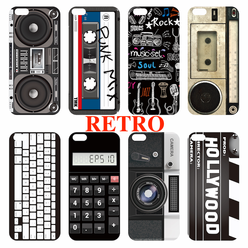 For iPhone 5S 6S 6Plus Case Cover Retro Camera Cassette Tapes Player Rock Music Boombox Hollywood Action Calculator Keyboard(China (Mainland))