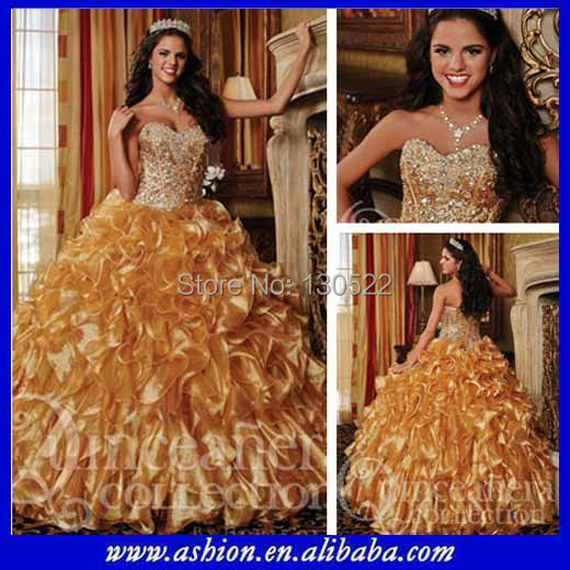 QD-218 Fancy beaded corset bodice gold color masquerade ball dresses prom gown