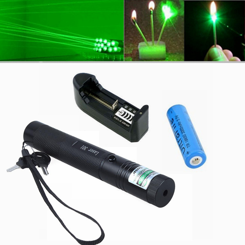Hot sale 2015 High Powered Burning Adjustable Focus Green Laser 301 Lazer Pointer Pen for Sale with 18650Battery and Charger(China (Mainland))