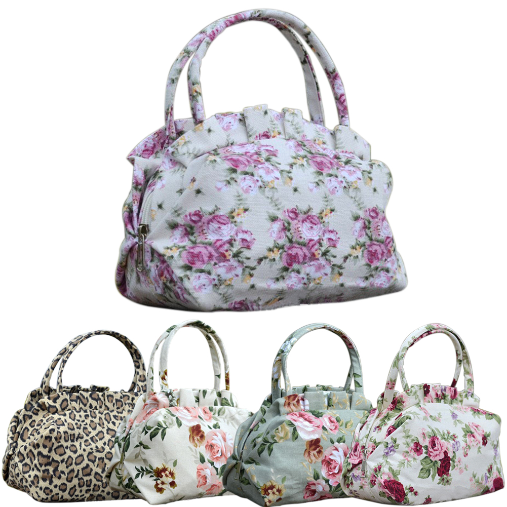 Free Shipping Women Lady Vintage Floral Flower Bowknot Canvas Fashion Leopard Print Casual Handbag Shoulder Bag(China (Mainland))