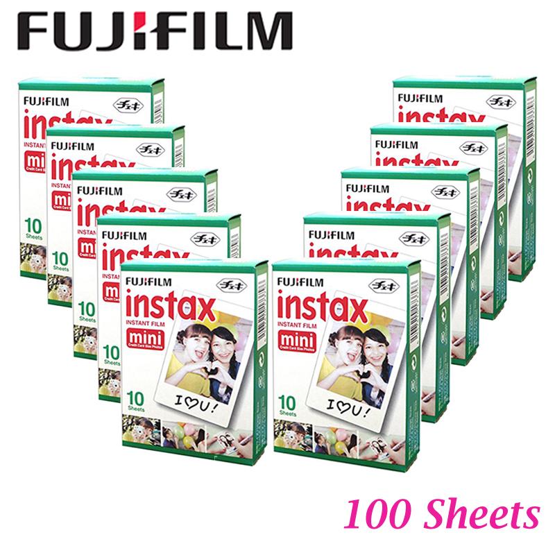 Fujifilm 100 sheets White Fujifilm Instax Mini film for Instant Camera mini 8 7s 25 50s 90 SP-1 White Edge Film Photo Paper(Hong Kong)