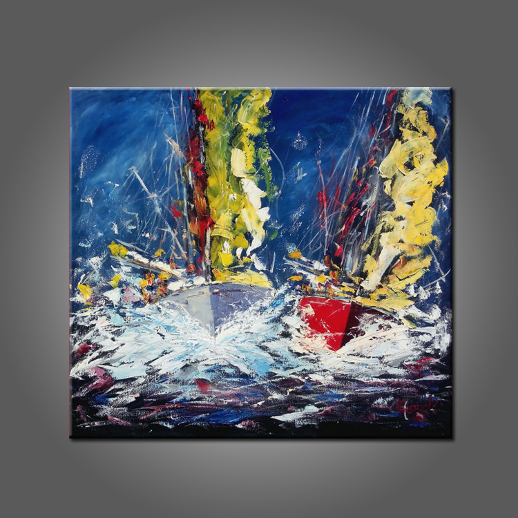 Abstract Design High Quality Hand Painted Abstract Oil Painting Sailing Boat On Canvas Boat Oil Paintings Wholesale(China (Mainland))