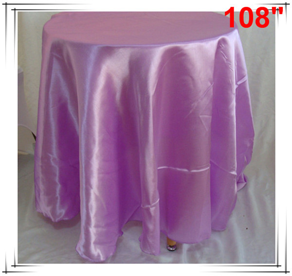 10pcs 108'' Round Satin Tablecloths for Weddings round table clothes(China (Mainland))