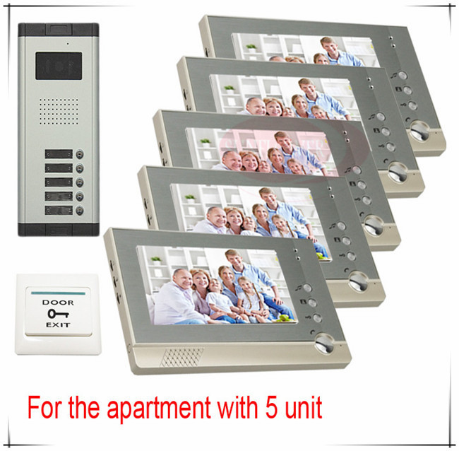 Video intercom door phone system for 5 apartments 5 keys outdoor unit Clearer Video! HD Camera + 5 LCDS(China (Mainland))