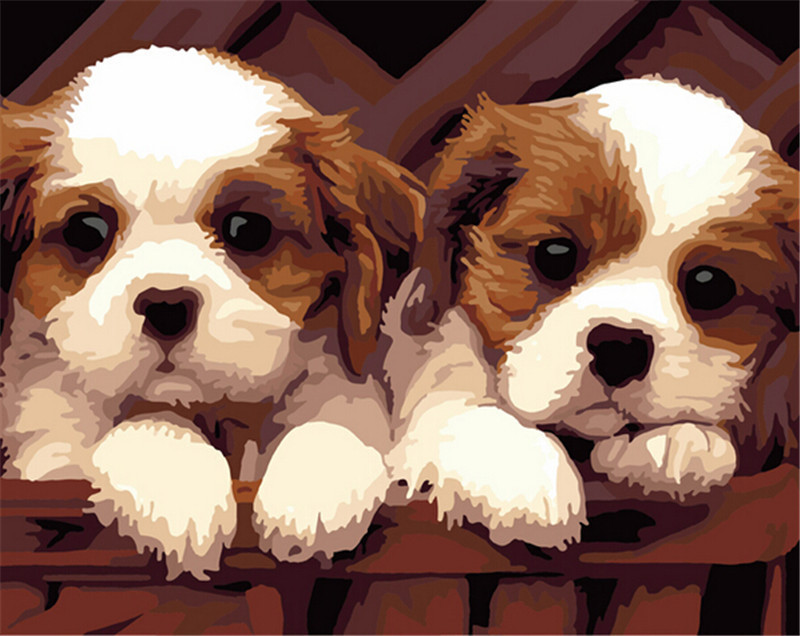 Cute Frameless Picture On Wall Acrylic Painting By Numbers Drawing By Numbers Unique Gift Coloring By Numbers Two Little Dogs(China (Mainland))